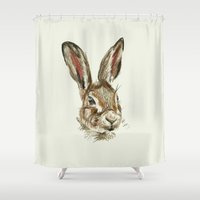 hare Shower Curtains featuring Hare by Hannah Isabelle Lewis