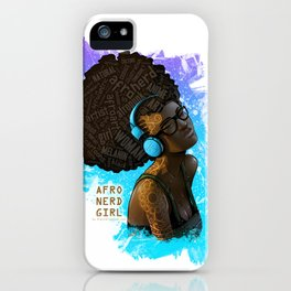 Afro Nerd Girl II (Blue) iPhone Case
