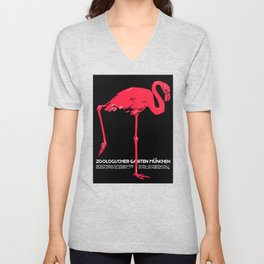 Vintage Pink flamingo Munich Zoo travel ad Unisex V-Neck