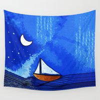 sailing Wall Tapestries featuring Sailing by Brontosaurus