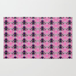 Raceway Plaid Skull and XBones: Pink, Grey, Purple Rug
