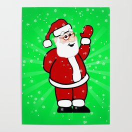 Christmas Santa in Red Suit Green Background Snow Poster