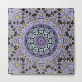 Purple Fox Flower Square Pattern Metal Print