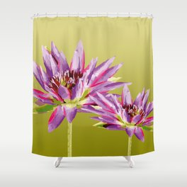 Water Lilies violet green Shower Curtain