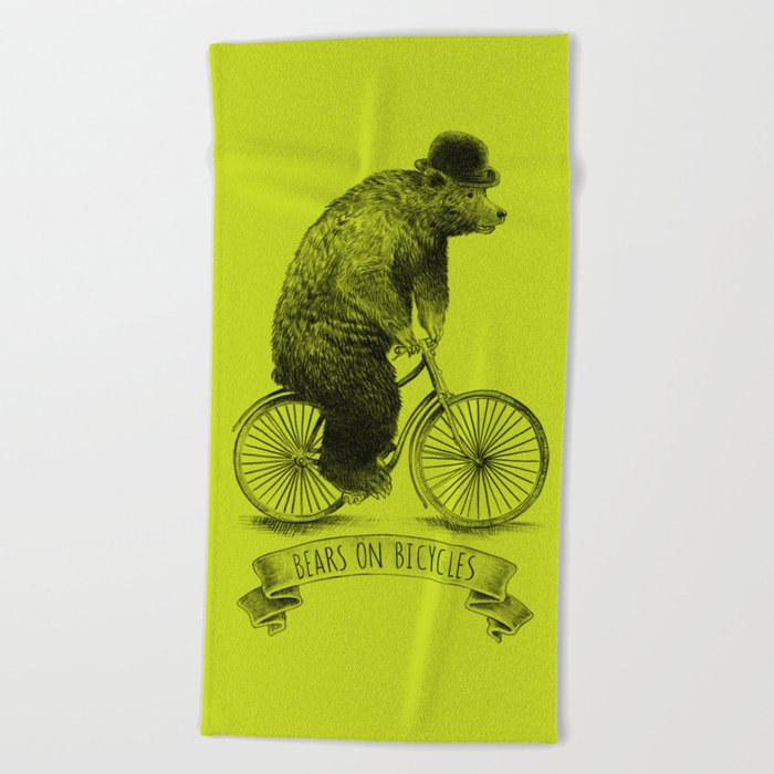 Bears on Bicycles (Lime) Beach Towel