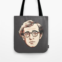 woody Tote Bags featuring Woody by Aaron Scamihorn