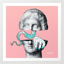 MONSTERS INSIDE YOU! / Marble statue head Art Print