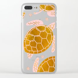 Sea Turtles in Pink and Gold Clear iPhone Case