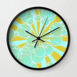 Aqua bubbly art Wall Clock