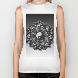 Yin and Yang Mandala (Black & White) Biker Tank