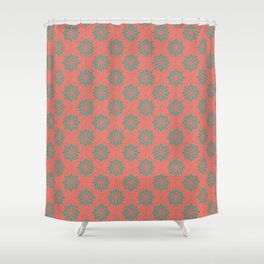 Flower Weave Texture Pattern - Living Coral Teal Shower Curtain