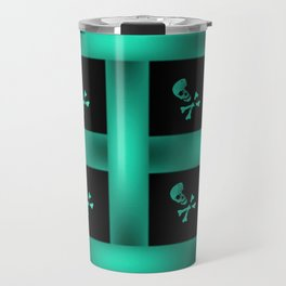 Teal Skull Pattern Travel Mug