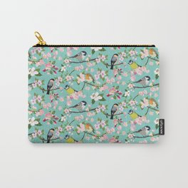 Blossom and Birds Turquoise Print Carry-All Pouch
