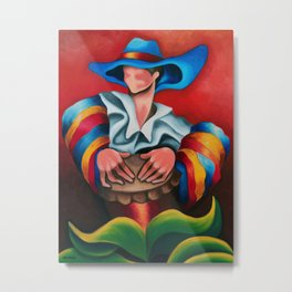Blue hat. Miguez art Metal Print
