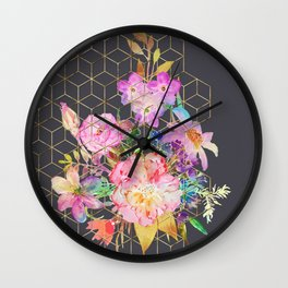 Modern watercolor floral and gold geometric cubes Wall Clock