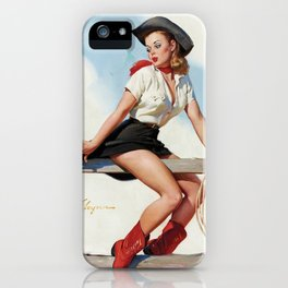 Pin Up Girl Cowgirl with Lasso iPhone Case