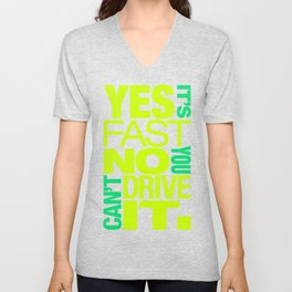 Yes it's fast No you can't drive it v7 HQvector Unisex V-Neck