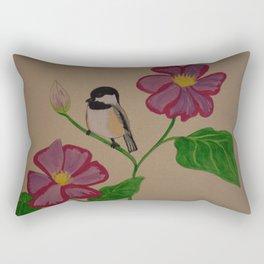 Chickadee & Flowers Rectangular Pillow