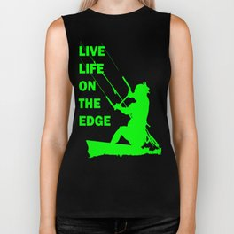 Live Life On The Edge Neon Lime Kitebeach Biker Tank