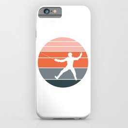 A Nice German Fencing Tee For Fencers Silhouette Of A Retro Fencer T-shirt Design Attack Defense iPhone Case