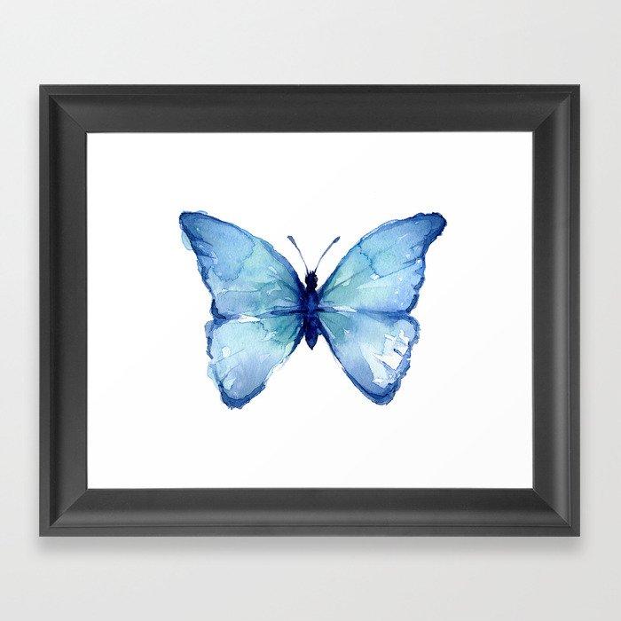 Blue Butterfly Watercolor Gerahmter Kunstdruck
