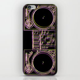Turntable and Mixer illustration - sketch / drawing iPhone Skin