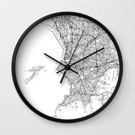 Marseille Map White Wall Clock