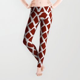 Rhombus Red And White Leggings