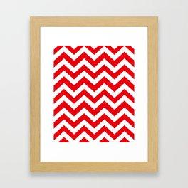 KU crimson - red color - Zigzag Chevron Pattern Framed Art Print