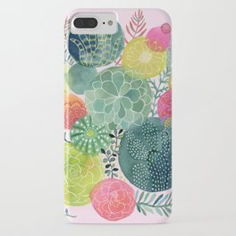Succulent Circles on Pink iPhone Case