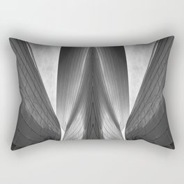 Architectural abstract captured in black and white from low perspective rendering a dramatic view. Rectangular Pillow