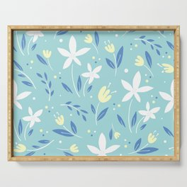 sea kiss floral blue summer flowers pattern Serving Tray