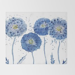 four blue dandelions watercolor Throw Blanket
