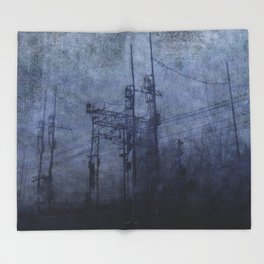 Electricity in the mist Throw Blanket