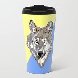 Modern yellow blue brown watercolor paint splatters wolf Travel Mug
