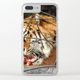 Zoo animals in cages and aviaries Clear iPhone Case