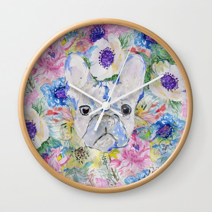 Abstract French bulldog floral watercolor paint Wall Clock