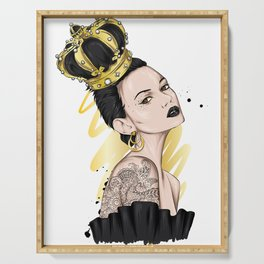 Beautiful girl with long hair in a crown with precious stones. Big eyes and full lips. Vector illustration for greeting card or poster, print on clothes. Fashion and style, accessories. Serving Tray