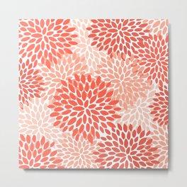 Floral Pattern, Living Coral, Pink Metal Print
