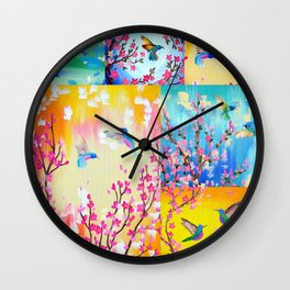 Hummingbird Collage 2 Wall Clock