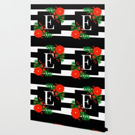 E - Monogram Black and White with Red Flowers Wallpaper