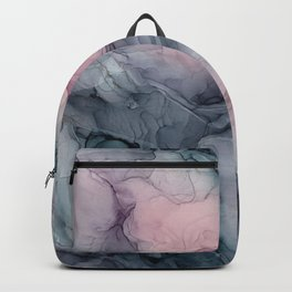 Blush Gray Blue Flowing Abstract Glow Up 1 Backpack