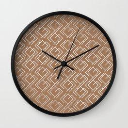 Modern Diagonal Maze Pattern in Cinnamon Wall Clock