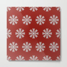 Knitted snowflakes Christmas pattern on red Metal Print