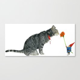 Cairo and Gnome with Sunflower Canvas Print