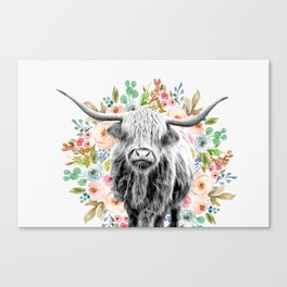 Cutest Highland Cow With Flowers Canvas Print