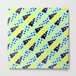 Chocktaw Geometric Square Cutout Pattern - Electric Ray Metal Print