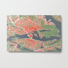 Stockholm city map classic Metal Print