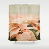peach Shower Curtains featuring Peach Poinsettias  by Pure Nature Photos