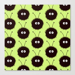Green Cute Dazzled Bugs Pattern Canvas Print